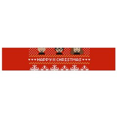 Merry Nerdmas! Ugly Christma Red Background Flano Scarf (Small)