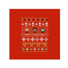 Merry Nerdmas! Ugly Christma Red Background Small Satin Scarf (Square)
