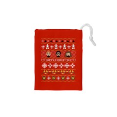 Merry Nerdmas! Ugly Christma Red Background Drawstring Pouches (xs)