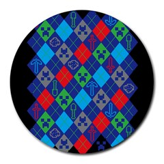 Minecraft Ugly Holiday Christmas Black Background Round Mousepads