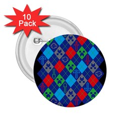 Minecraft Ugly Holiday Christmas Black Background 2.25  Buttons (10 pack)