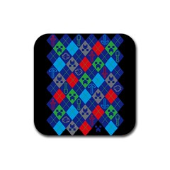 Minecraft Ugly Holiday Christmas Black Background Rubber Square Coaster (4 pack)