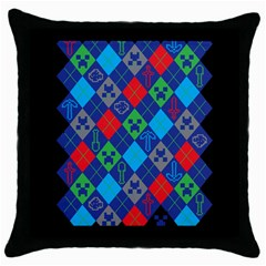 Minecraft Ugly Holiday Christmas Black Background Throw Pillow Case (Black)