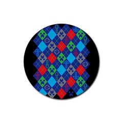 Minecraft Ugly Holiday Christmas Black Background Rubber Round Coaster (4 pack)