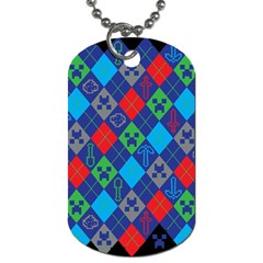 Minecraft Ugly Holiday Christmas Black Background Dog Tag (two Sides)