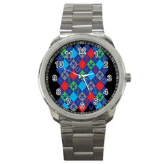 Minecraft Ugly Holiday Christmas Black Background Sport Metal Watch
