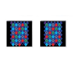 Minecraft Ugly Holiday Christmas Black Background Cufflinks (Square)