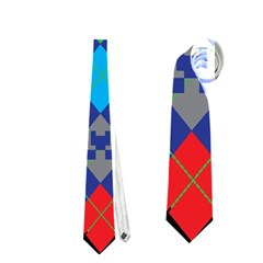 Minecraft Ugly Holiday Christmas Black Background Neckties (One Side)
