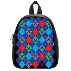 Minecraft Ugly Holiday Christmas Black Background School Bags (Small)