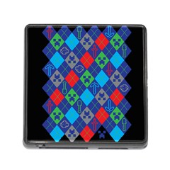 Minecraft Ugly Holiday Christmas Black Background Memory Card Reader (square)