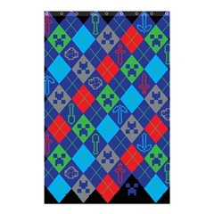 Minecraft Ugly Holiday Christmas Black Background Shower Curtain 48  x 72  (Small)