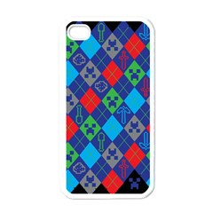 Minecraft Ugly Holiday Christmas Black Background Apple Iphone 4 Case (white)