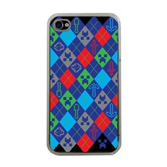 Minecraft Ugly Holiday Christmas Black Background Apple iPhone 4 Case (Clear)