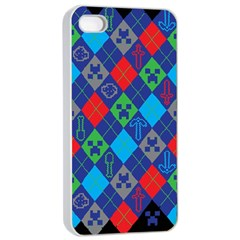 Minecraft Ugly Holiday Christmas Black Background Apple iPhone 4/4s Seamless Case (White)