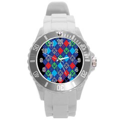 Minecraft Ugly Holiday Christmas Black Background Round Plastic Sport Watch (L)