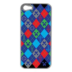 Minecraft Ugly Holiday Christmas Black Background Apple iPhone 5 Case (Silver)