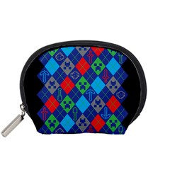 Minecraft Ugly Holiday Christmas Black Background Accessory Pouches (small)