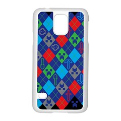 Minecraft Ugly Holiday Christmas Black Background Samsung Galaxy S5 Case (White)