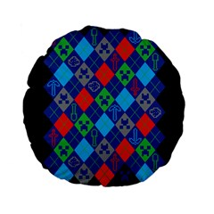 Minecraft Ugly Holiday Christmas Black Background Standard 15  Premium Flano Round Cushions