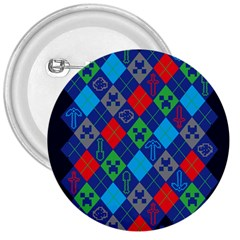 Minecraft Ugly Holiday Christmas Blue Background 3  Buttons