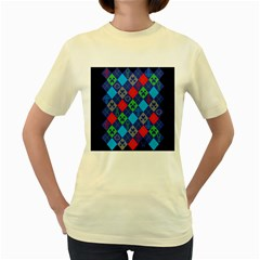 Minecraft Ugly Holiday Christmas Blue Background Women s Yellow T Shirt