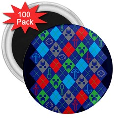 Minecraft Ugly Holiday Christmas Blue Background 3  Magnets (100 pack)