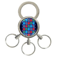 Minecraft Ugly Holiday Christmas Blue Background 3-Ring Key Chains