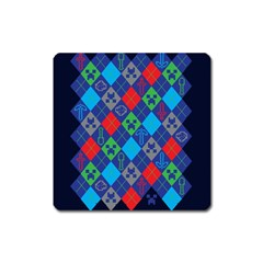 Minecraft Ugly Holiday Christmas Blue Background Square Magnet