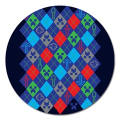 Minecraft Ugly Holiday Christmas Blue Background Magnet 5  (Round)