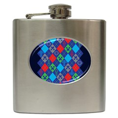Minecraft Ugly Holiday Christmas Blue Background Hip Flask (6 Oz)
