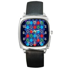 Minecraft Ugly Holiday Christmas Blue Background Square Metal Watch