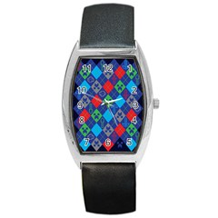 Minecraft Ugly Holiday Christmas Blue Background Barrel Style Metal Watch