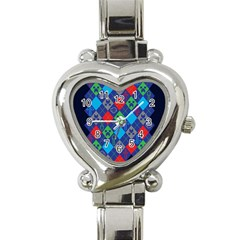 Minecraft Ugly Holiday Christmas Blue Background Heart Italian Charm Watch