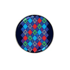 Minecraft Ugly Holiday Christmas Blue Background Hat Clip Ball Marker