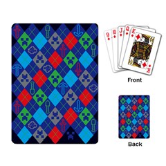 Minecraft Ugly Holiday Christmas Blue Background Playing Card
