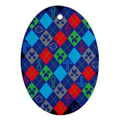 Minecraft Ugly Holiday Christmas Blue Background Oval Ornament (two Sides)