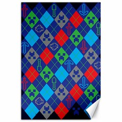 Minecraft Ugly Holiday Christmas Blue Background Canvas 20  x 30