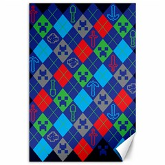 Minecraft Ugly Holiday Christmas Blue Background Canvas 24  x 36