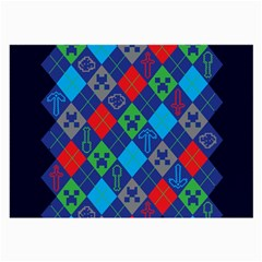Minecraft Ugly Holiday Christmas Blue Background Large Glasses Cloth (2-Side)