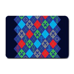 Minecraft Ugly Holiday Christmas Blue Background Small Doormat