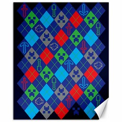 Minecraft Ugly Holiday Christmas Blue Background Canvas 11  X 14