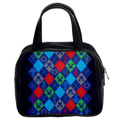 Minecraft Ugly Holiday Christmas Blue Background Classic Handbags (2 Sides)