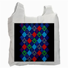 Minecraft Ugly Holiday Christmas Blue Background Recycle Bag (Two Side)