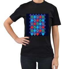 Minecraft Ugly Holiday Christmas Blue Background Women s T-Shirt (Black)
