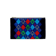 Minecraft Ugly Holiday Christmas Blue Background Cosmetic Bag (Small)