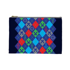 Minecraft Ugly Holiday Christmas Blue Background Cosmetic Bag (Large)