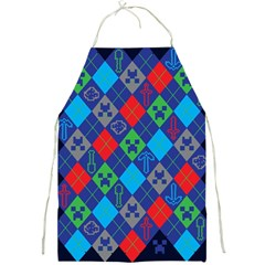 Minecraft Ugly Holiday Christmas Blue Background Full Print Aprons