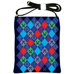 Minecraft Ugly Holiday Christmas Blue Background Shoulder Sling Bags