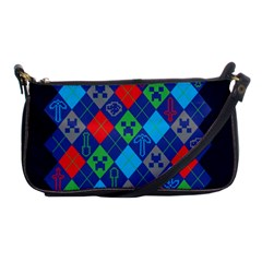 Minecraft Ugly Holiday Christmas Blue Background Shoulder Clutch Bags