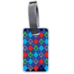 Minecraft Ugly Holiday Christmas Blue Background Luggage Tags (One Side)